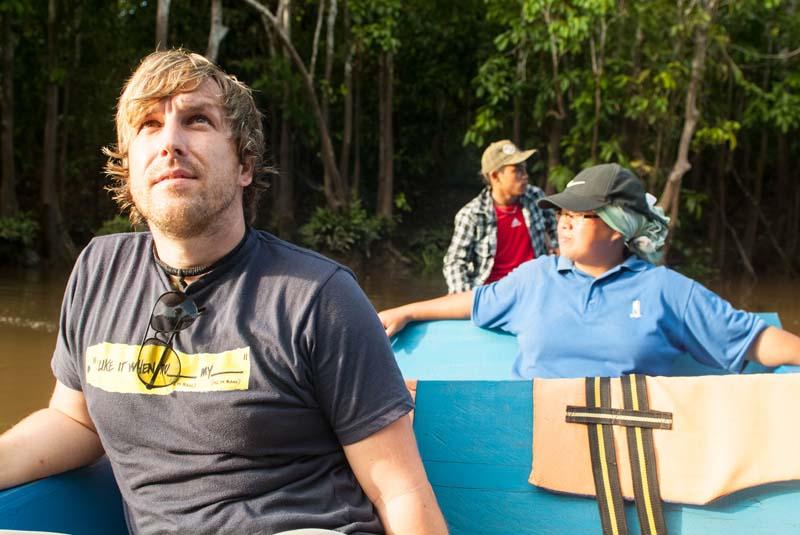 Sukau auf dem Boot mit Maria