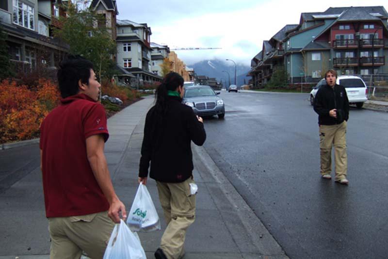 Auf dem Weg zur Arbeit, Canmore, Alberta, Kanada
