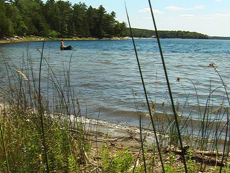 Bunki mit Kanu im Lake Ontari,Manitoulin Island, Ontario, Kanada