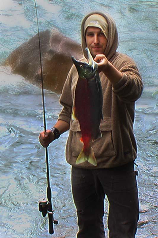 Bunki mit gefangenem Lachs, British Columbia, Kanada