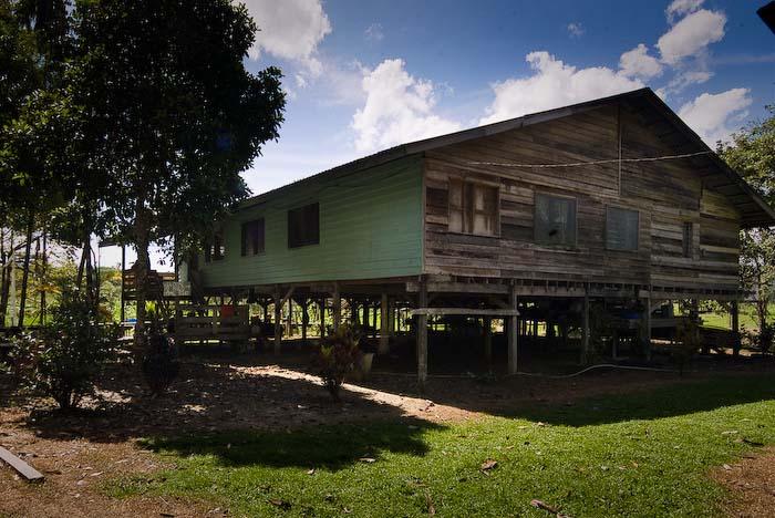 Das Stelzenhaus am Fluss, Mulu Nationalpark, Borneo, Malaysia