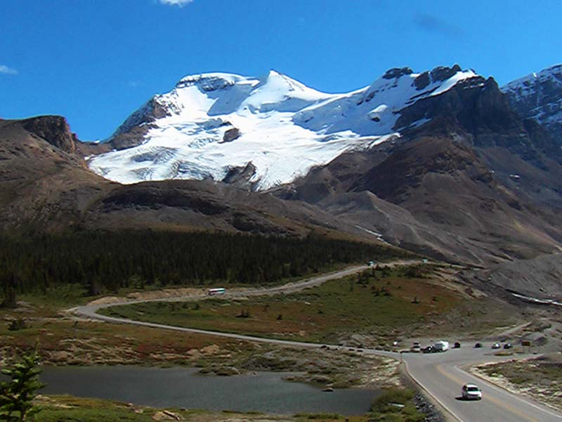 Ein Gletscher auf dem Weg zum Yukon, Rocky Mountains, Alberta, Kanada