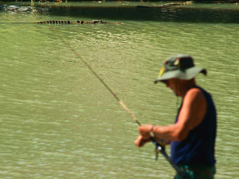 Krokodil beim Angler