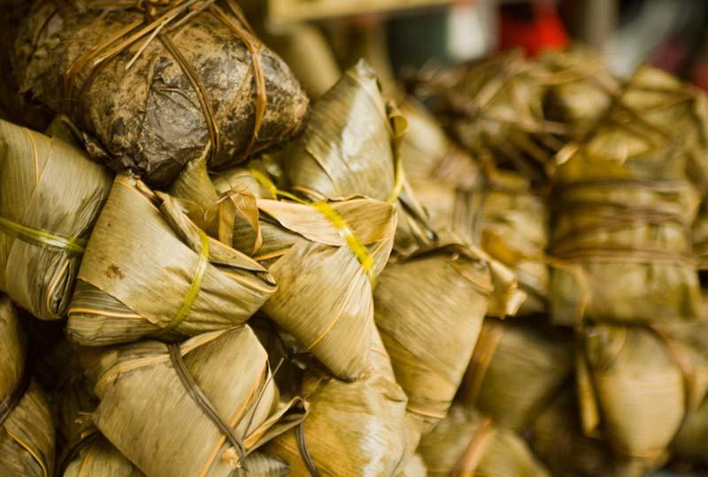 Reis in Bananenblättern, Malaysia