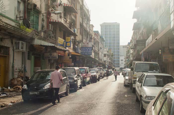 Typisches Stadtbild in Sandakan, Borneo, Malaysia