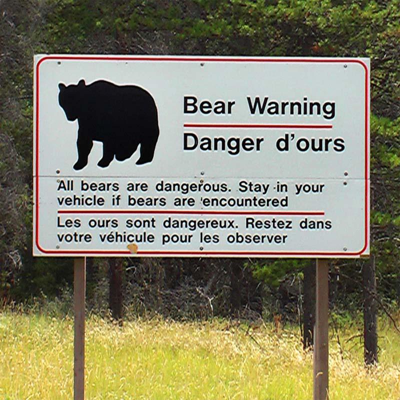 Typisches Warnschild in Kanada, Kanada