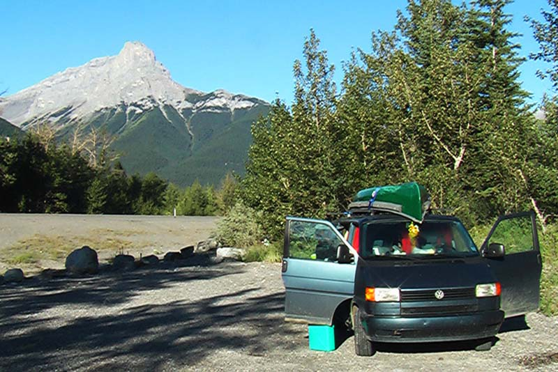 Unsere Schlafplatz fuer drei Wochen, Rocky Mountains, Alberta, Kanada
