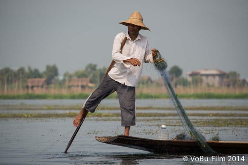 Fischer bei der Arbeit, Inle Lake, Myanmar