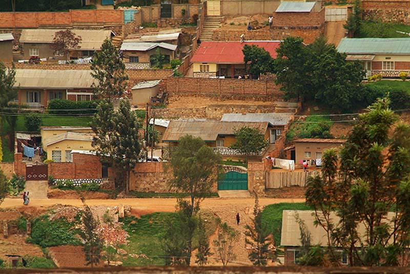 Lehmbauten in Kigali, Ruanda