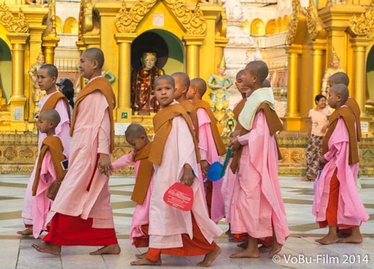 Nonnen bei der Shwedagon Pagoda, Yangon, Myanmar