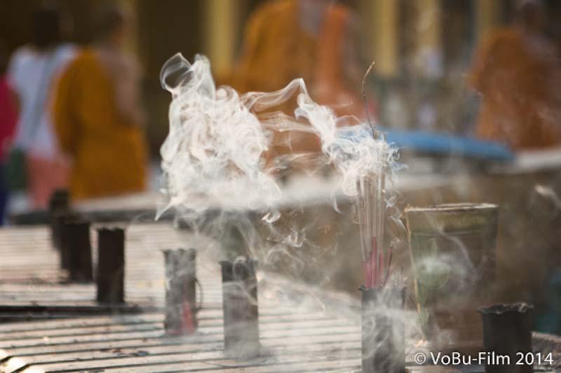 Smokesticks, Shwedagon Pagoda, Yangon, Myanmar